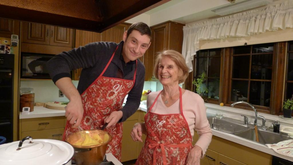 Will Pentecost and Eugenia Bertolotti making polenta